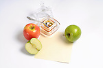 Apples Honey and greeting card<br /> Rosh Hashana<br /> Copy space