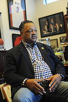 Reverend Jesse Jackson sits for an interview in his office at Rainbow PUSH Coalition headquarters in Kenwood on the South Side of Chicago, Illinois on February 3, 2017.