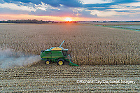 63801-12509 Harvesting corn in fall at sunset-aerial  Marion Co. IL