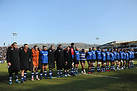 The Bath Rugby team lines up prior to the match. Aviva Premiership match, between Bath Rugby and Sale Sharks on February 24, 2018 at the Recreation Ground in Bath, England. Photo by: Patrick Khachfe / Onside Images