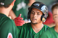 Catcher Alan Marrero (16) of the Greenville Drive is greeted after scoring a run in a game against the Rome Braves on Sunday, June 30, 2019, at Fluor Field at the West End in Greenville, South Carolina. Rome won, 6-3. (Tom Priddy/Four Seam Images)