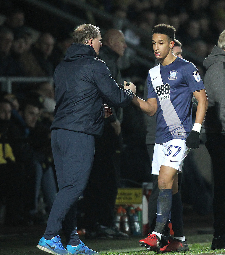 Preston North End's Manager Simon Grayson greets Callum Robinson<br /> <br /> Photographer Mick Walker/CameraSport<br /> <br /> The EFL Sky Bet Championship - Burton Albion v Preston North End - Monday 2nd January 2017 - Pirelli Stadium - Burton upon Trent<br /> <br /> World Copyright &copy; 2017 CameraSport. All rights reserved. 43 Linden Ave. Countesthorpe. Leicester. England. LE8 5PG - Tel: +44 (0) 116 277 4147 - admin@camerasport.com - www.camerasport.com