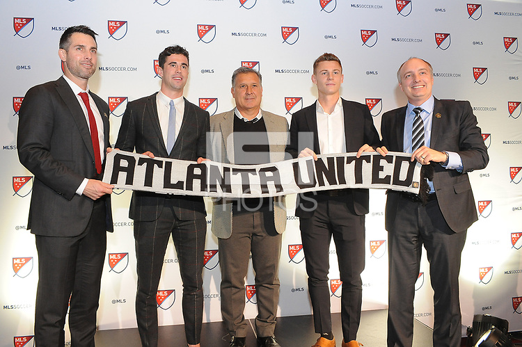 Philadelphia, PA - Thursday January 19, 2018: Carlos Bocanegra, Oliver Shannon, Gerardo Martino, Gordon Wild, Paul McDonough during the 2018 MLS SuperDraft at the Pennsylvania Convention Center.