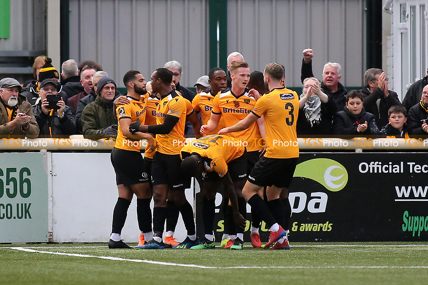 Maidstone players congratulate Dan Wishart after scoring their opening goal during Maidstone United vs Torquay United, Emirates FA Cup Football at the Gallagher Stadium on 9th November 2019