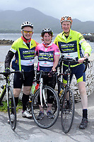 Abbeyfeale cyclists, Dan McCarthy, Marie Gleeson and John JHoe O'Connor pictured at the half way break at Kilmackillogue Harbour in County Kerry whilst taking part in the annual Sneem Cycle, &ldquo;Wild Atlantic Challenge Charity Cycle&rdquo; in aid of Breakthrough Cancer Research at the weekend.<br /> Photo Don MacMonagle<br /> <br /> repro free photo<br /> Further info: Ann O'Sullivan ann@breakthroughcancerresearch.ie