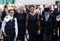 COPY BY TOM BEDFORD<br /> Pictured: Gemma Black, the mother of Pearl Black (3rd L) exits the chapel supported by family and friend after the service out of the Jerusalem Baptist Chapel in Merthyr Tydfil, Wales, UK. Friday 18 August 2017<br /> Re: The funeral of a toddler who died after a parked Range Rover's brakes failed and it hit a garden wall which fell on top of her will be held today at Jerusalem Baptist Chapel in Merthyr Tydfil.<br /> One year old Pearl Melody Black and her eight-month-old brother were taken to hospital after the incident in south Wales.<br /> Pearl's family, father Paul who is The Voice contestant and mum Gemma have said she was &quot;as bright as the stars&quot;.
