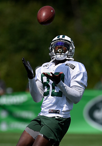 Lucky Whitehead #82 of the New York Jets makes a catch during Training Camp at the Atlantic Health Jets Training Center in Florham Park, NJ on Saturday, Aug. 18, 2018.