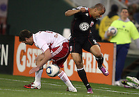 Charlie Davies (9) of D.C. United loses the ball to Teemu Tainio (2) of the New York Red Bulls during an MLS match at RFK Stadium, in Washington D.C. on April 21 2011. Red Bulls won 4-0.