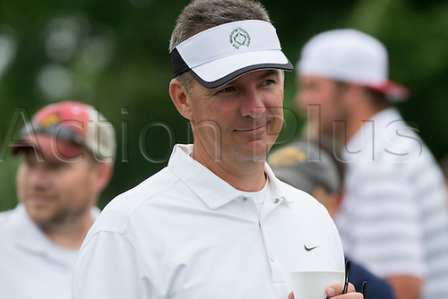 06.06.2015. Dublin, Ohio, USA.  Ohio State Football Head Coach Urban Meyer talking with golfers during the third round of the Memorial Tournament held at the Muirfield Village Golf Club in Dublin, Ohio.