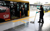 """BOGOTA, COLOMBIA - March 13:  A worker cleans a public transportation station  """"Transmilenio"""" on March 13, 2020 in Bogota, Colombia. The World Health Organization declared a global pandemic as the coronavirus rapidly spreads across the world. Colombian President Ivan Duque declared a health emergency to contain an outbreak of coronavirus, suspending public events with more than 500 people. (Photo by John W. Vizcaino/VIEWpress)"""