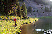 Joe Josephson hooks up with a Yellowstone cutthroat trout at dawn on Expedition Lake in the Hilgard Basin.