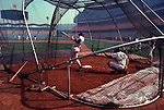 Batting cage is set up for batting practice before a game at Dodger Stadium, Los Angeles, CA