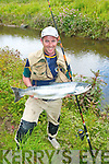 Mike O'Shea,Marian pk,Tralee couldn't believe his luck when he landed this fine fresh 15Lb bar of silver wild salmon from the river Maine last Friday after a 40 minute row. Fishing with earth worms at the bridge pool Mike got the assistance of another angler who had a bigger landing net as his one was too small.
