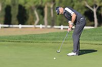 Craig Lee (SCO) putts on the 14th green during Thursday's Round 1 of the 2016 Portugal Masters held at the Oceanico Victoria Golf Course, Vilamoura, Algarve, Portugal. 19th October 2016.<br /> Picture: Eoin Clarke | Golffile<br /> <br /> <br /> All photos usage must carry mandatory copyright credit (&copy; Golffile | Eoin Clarke)