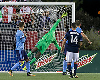 Foxborough, Massachusetts - October 15, 2017: In a Major League Soccer (MLS) match, New England Revolution (blue/white) defeated New York City FC (light blue/blue), 2-1, at Gillette Stadium.<br /> Diego Fagundez goal.