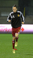 20151130 - LEUVEN ,  BELGIUM : Belgian Elke Van Gorp pictured during the female soccer game between the Belgian Red Flames and Serbia , the third game in the qualification for the European Championship in The Netherlands 2017  , Monday 30 November 2015 at Stadion Den Dreef  in Leuven , Belgium. PHOTO DIRK VUYLSTEKE
