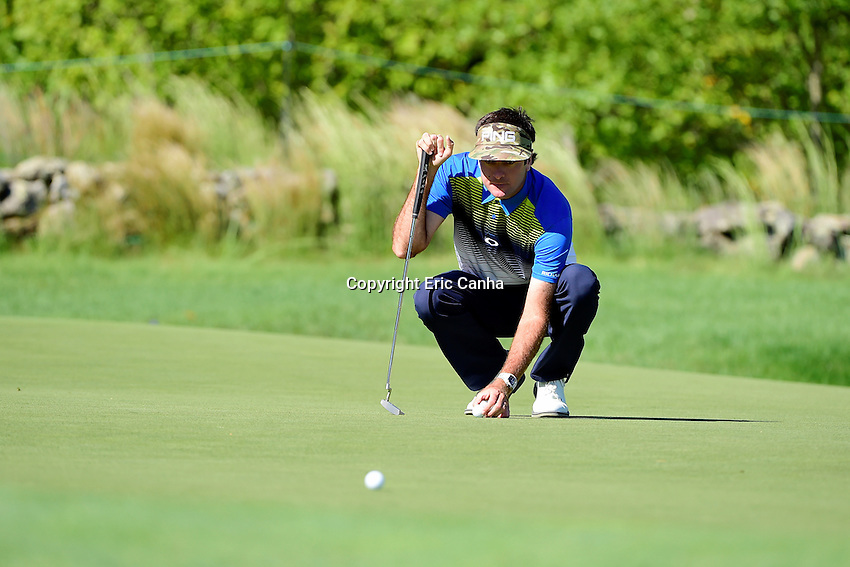 Friday, September 2, 2016:  Bubba Watson places his ball before putting on the on the third green during the first round of the Deutsche Bank Championship tournament held at the Tournament Players Club, in Norton, Massachusetts.  Eric Canha/Cal Sport Media
