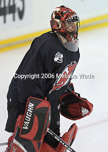Scott Clemmensen takes part in a drill. The New Jersey Devils and prospects took part in their second official on-ice day of training camp on Saturday, September 16, 2006 at the Richard E. Codey Rink at South Mountain in West Orange, New Jersey.<br />