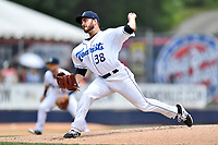 Asheville Tourists starting pitcher Ty Culbreth (38) delivers a pitch during a game against the Rome Braves at McCormick Field on June 11, 2017 in Asheville, North Carolina. The Braves defeated the Tourists 3-1. (Tony Farlow/Four Seam Images)