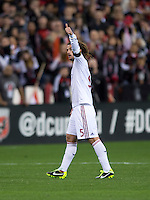 Kyle Beckerman (5) of Real Salt Lake reacts to a well-played ball during the game at RFK Stadium in Washington, DC.  D.C. United defeated Real Salt Lake, 1-0.