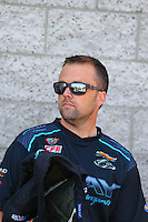 Apr 11, 2015; Las Vegas, NV, USA; NHRA pro stock driver Jonathan Gray during qualifying for the Summitracing.com Nationals at The Strip at Las Vegas Motor Speedway. Mandatory Credit: Mark J. Rebilas-