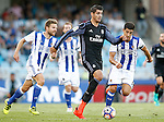 Real Sociedad's Inigo Martinez (l) and Yuri Berchiche (r) and Real Madrid's Alvaro Morata during La Liga match. August 21,2016. (ALTERPHOTOS/Acero)
