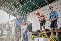 Podium champaign with:<br /> <br /> 1. Taco Van der Hoorn (NED/roompot-Nederlandse Loterij)<br /> 2. Wout Van Aert (BEL/Veranda's Willems-Crelan)<br /> 3. Tim Merlier (BEL/Veranda's Willems-Crelan)<br /> <br /> 92th Schaal Sels 2017