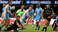DURBAN, SOUTH AFRICA - APRIL 14: Philip van der Walt of the Cell C Sharks tackling RG Snyman of the Vodacom Blue Bulls during the Super Rugby match between Cell C Sharks and Vodacom Bulls at Jonsson Kings Park Stadium on April 14, 2018 in Durban, South Africa. Photo: Steve Haag / stevehaagsports.com