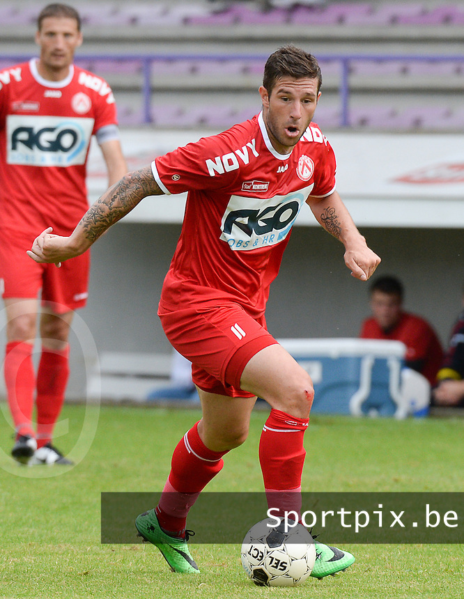 20140627 - HARELBEKE , BELGIUM:  Kortrijk's Kevin Dupuis pictured during a friendly match between SW Harelbeke and Belgian first division soccer team KV Kortrijk, the third match for Kortrijk of the preparations for the 2014-2015 season, Friday 27 June 2014 in Bissegem. PHOTO DAVID CATRY