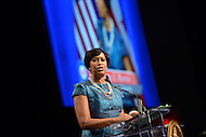 Washington, DC - January 2, 2015: Mayor Muriel Bowser delivers her inaugural address after taking the oath of office during the 2014 inauguration ceremony held at the Washington Convention Center, January 2, 2015.   (Photo by Don Baxter/Media Images International)