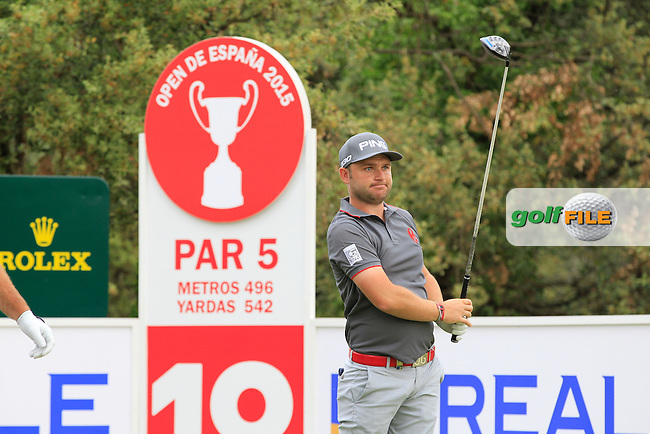 Andy Sullivan (ENG) on the 18th tee during Round 1 of the Open de Espana  in Club de Golf el Prat, Barcelona on Thursday 14th May 2015.<br /> Picture:  Thos Caffrey / www.golffile.ie