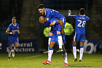 Conor Wilkinson leaps onto the back of goalscorer, Josh Parker, after scoring Gillingham's opening goal during Gillingham vs Bury, Sky Bet EFL League 1 Football at the MEMS Priestfield Stadium on 11th November 2017