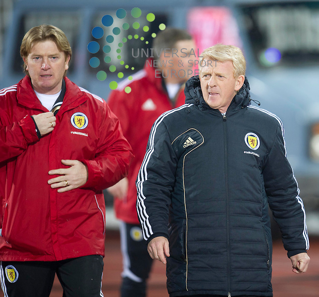Stuart McCall and Gordon Strachan before the Fifa World Cup Qualifier between Serbia and Scotland at Stadion Karadorde, Novi Sad, Serbia. 26 March 2013. Picture by Ian Sneddon / Universal News and Sport (Scotland). All pictures must be credited to www.universalnewsandsport.com. (Office) 0844 884 51 22. .