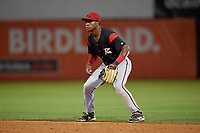 Richmond Flying Squirrels second baseman Jalen Miller (1) during an Eastern League game against the Bowie Baysox on August 15, 2019 at Prince George's Stadium in Bowie, Maryland.  Bowie defeated Richmond 4-3.  (Mike Janes/Four Seam Images)
