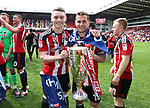 Sheffield United's Caolan Lavery and Billy Sharp celebrate with the trophy during the League One match at Bramall Lane, Sheffield. Picture date: April 30th, 2017. Pic David Klein/Sportimage
