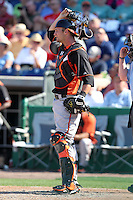 Baltimore Orioles Caleb Joseph #72 during a spring training game vs. the Philadelphia Phillies at Bright House Field in Clearwater, Florida;  March 8, 2011.  Philadelphia defeated Baltimore 4-3.  Photo By Mike Janes/Four Seam Images
