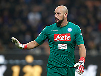 Calcio, Serie A: Inter - Napoli, Milano, stadio Giuseppe Meazza (San Siro), 11 marzo 2018.<br /> Napoli's goalkeeper Jos&egrave; Manuel Reina reacts during the Italian Serie A football match between Inter Milan and Napoli at Giuseppe Meazza (San Siro) stadium, March 11, 2018.<br /> UPDATE IMAGES PRESS/Isabella Bonotto