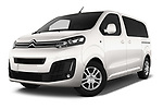 Stock pictures of low aggressive front three quarter view of a 2017 Citroen Space Tourer Business 4 Door Passenger Van