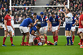 February 1st 2019, St Denis, Paris, France: 6 Nations rugby tournament, France versus Wales;  Wesley Fofana (fr) called for a high tackle