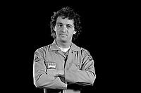 EXCLUSIVE PHOTO - Comic Michel Barrette pose in studio on January 23, 1984<br /> <br /> Fle Photo : Agence Quebec Presse  - Denis Alix