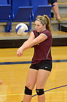 NWA Democrat-Gazette/BEN GOFF @NWABENGOFF<br /> Haley Stewart of Siloam Springs makes a dig on Thursday Aug. 27, 2015 during the match at Rogers High.