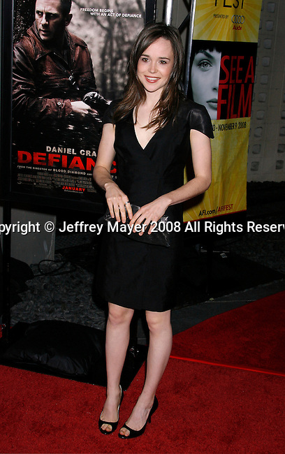 "HOLLYWOOD, CA. - November 09: Actress Ellen Page arrives at the 2008 AFI Film Festival Presents ""Defiance"" at The ArcLight Cinemas on November 9, 2008 in Hollywood, California."