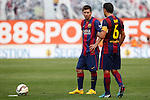 Barcelona´s Leo Messi and Xavi Hernandez (R) during La Liga match between Rayo Vallecano and Barcelona at Vallecas stadium in Madrid, Spain. October 04, 2014. (ALTERPHOTOS/Victor Blanco)