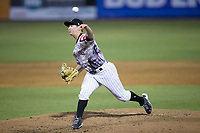 Kannapolis Intimidators relief pitcher Alex Katz (20) delivers a pitch to the plate against the Asheville Tourists at Kannapolis Intimidators Stadium on May 5, 2017 in Kannapolis, North Carolina.  The Tourists defeated the Intimidators 5-1.  (Brian Westerholt/Four Seam Images)