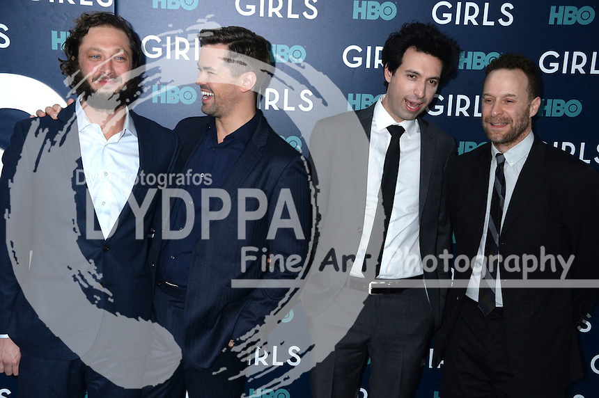 Ebon Moss-Bachrach, Andrew Rannells, Alex Karpovsky and Jon Glaser attend the 'Girls' premiere at Alice Tully Hall, Lincoln Center on February 2, 2017 in New York City.