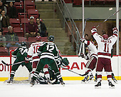 The Harvard Crimson celebrate Jimmy Vesey's (Harvard - 19) goal. - The Harvard University Crimson defeated the Dartmouth College Big Green 5-2 to sweep their weekend series on Sunday, November 1, 2015, at Bright-Landry Hockey Center in Boston, Massachusetts. -