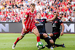 Bayern Munich Forward Thomas Muller (L) fights for the ball with AC Milan Midfielder Riccardo Montolivo (C) during the 2017 International Champions Cup China  match between FC Bayern and AC Milan at Universiade Sports Centre Stadium on July 22, 2017 in Shenzhen, China. Photo by Marcio Rodrigo Machado / Power Sport Images