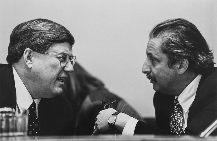 Chairman of House oversight Rep. Bill Thomas, R-Calif., and Rep. Sam Gejdenson, D-Conn., at House Oversight meeting on Feb. 11, 1997. (Photo by Maureen Keating/CQ Roll Call via Getty Images)