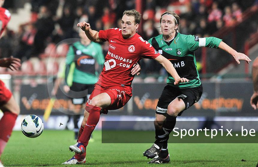 KV Kortrijk - Cercle Brugge  : Brecht Capon voor Hans Cornelis.foto VDB / BART VANDENBROUCKE