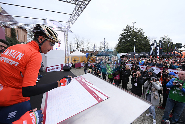 Vincenzo Nibali (ITA) Bahrain-Merida team at sign on before the start of the 2017 Strade Bianche running 175km from Siena to Siena, Tuscany, Italy 4th March 2017.<br /> Picture: La Presse/Gian Mattia D'Alberto | Newsfile<br /> <br /> <br /> All photos usage must carry mandatory copyright credit (&copy; Newsfile | La Presse)